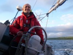 On the helm near Greater Cumbrae