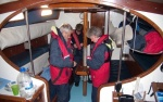 Preparing to sail - donning life jackets